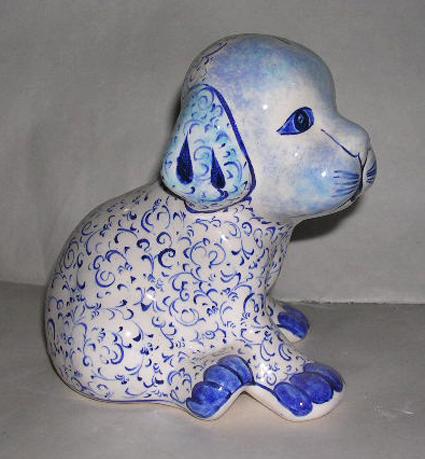Klasik Haliç Desenli Çini ve Seramik Köpek Bibloları  Köpek Heykelleri Formları el yapımı çini hayvan figürleri resimleri görselleri şekilleri heykelleri
