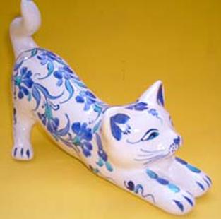 Çini ve Seramik Desenli ve Altyapılı Esneyen Kedi Heykelciği Hediyelik Amaçlı Doğal Hayatı Sevenler için ideal ilginç sıradışı hediyeler