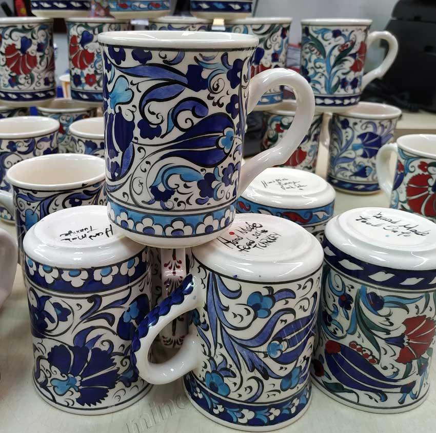 Çini bardak desenleri Betül mavisi mavi-beyaz Lead Free Kurşunsuz Kullanıma Uygun Çiniler ve seramik kupalar ve bardaklar