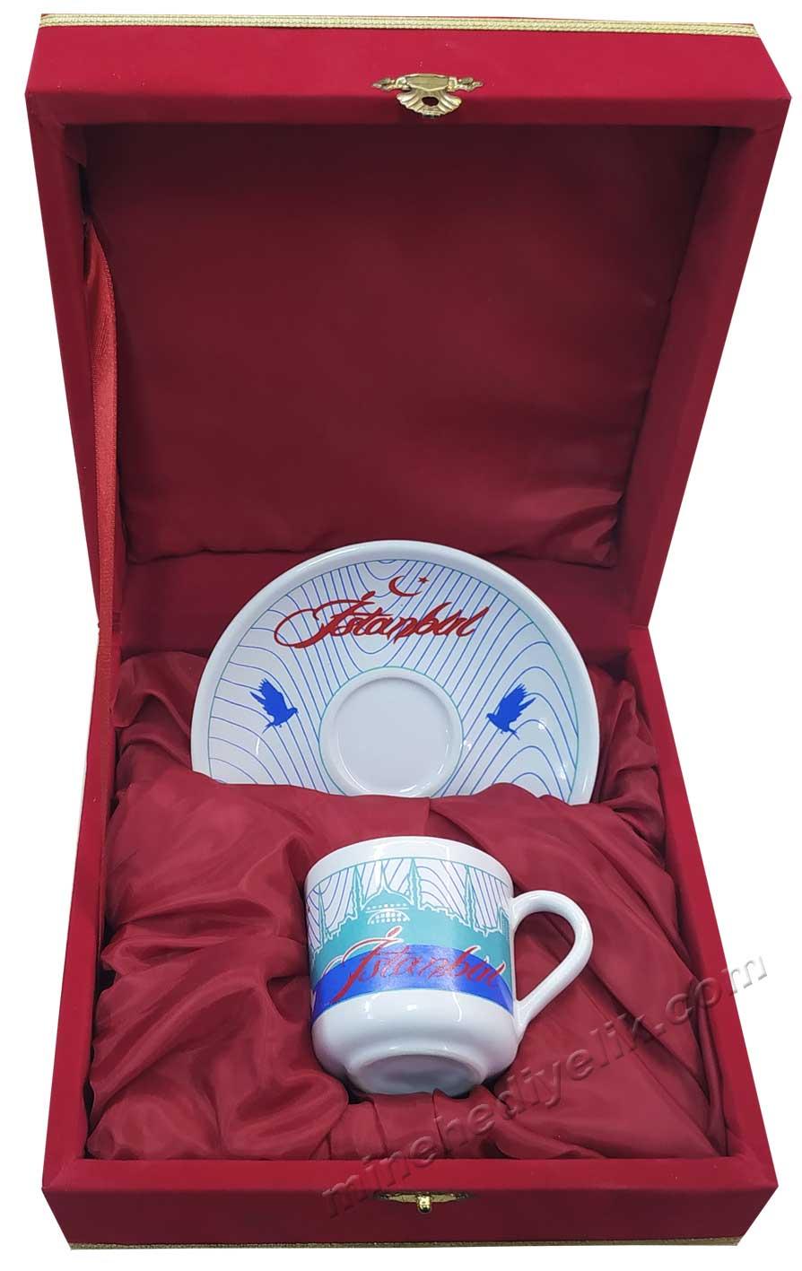 İstanbul görselli kurumsal hediyelikler kahve fincan takımları tek kişilik
