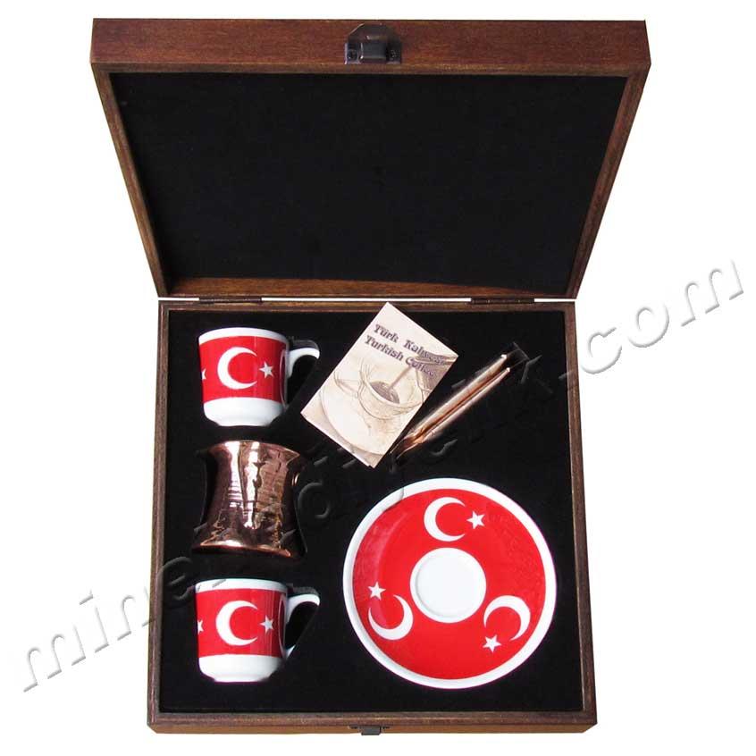 Özel Tasarım Cezveli Kahveli Ahşap Kutuda Ay yıldız Bayraklı vip  protokol Kurumsal hediyelikler Ayyıldız kahve seti Türkiye temsili hediye fikirleri