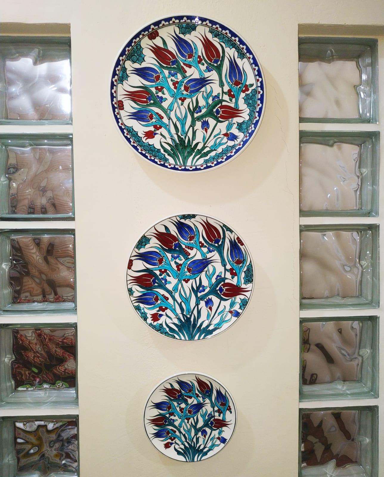 Çini duvar süslemeleri İznik Tarzı Koleksiyon Set dekoratif duvar süsleri Üçlü  tabak seti