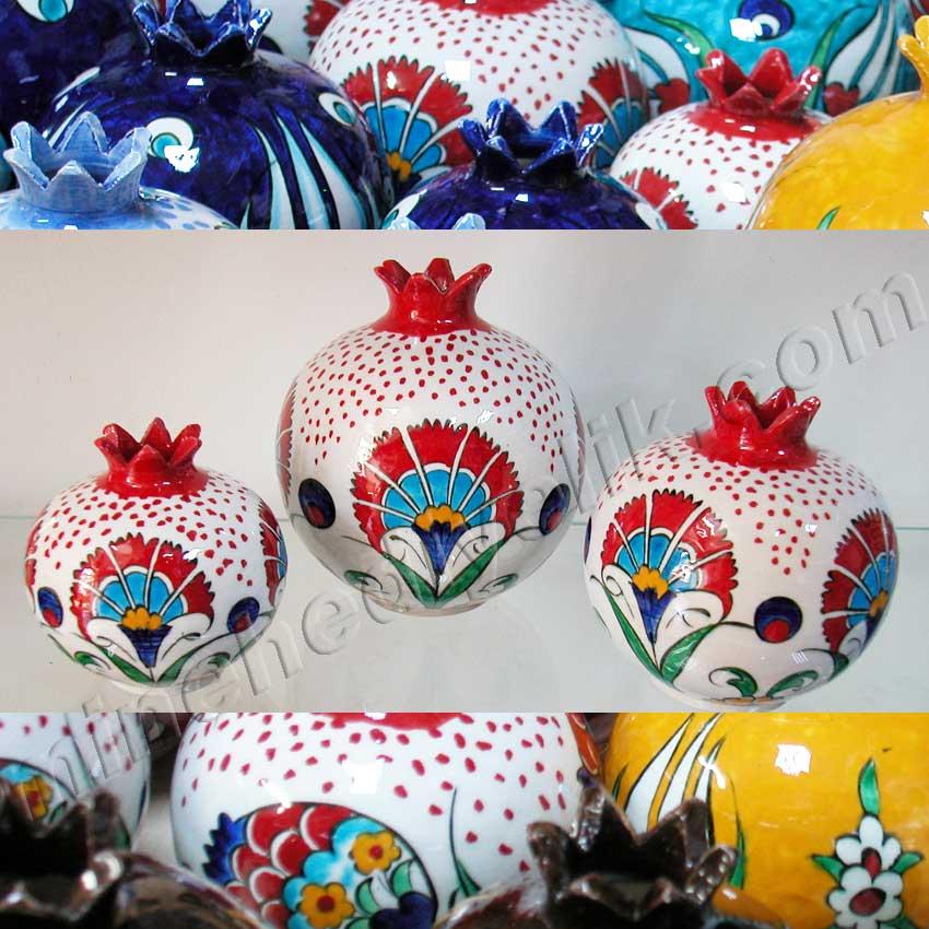 Karanfil Desenli Çini Nar Setleri Kurumsal Promosyon Hediyelik tarihi ve kültürel Hediyelik Eşyalar geleneksel sanatsal hediyeler