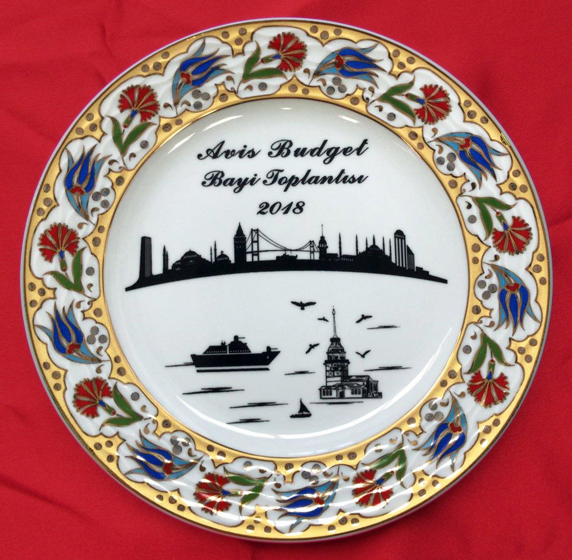 İstanbul Hatırası Türkiye Anısı Logo Baskılı Porselen Plaket Tabaklar