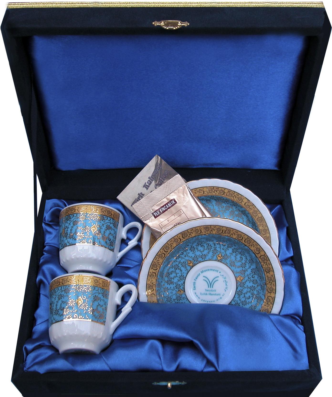 İkili Kadife Kutuda Hediyelik Fincan Setleri Vakıf ve Dernekler İçin Ziyaret Anısına Kurumsal Hediyelikler firma logolu baskılı uygun fiyatlı  kutulu kahve Fincan Takımları çift kişilik keyif seti