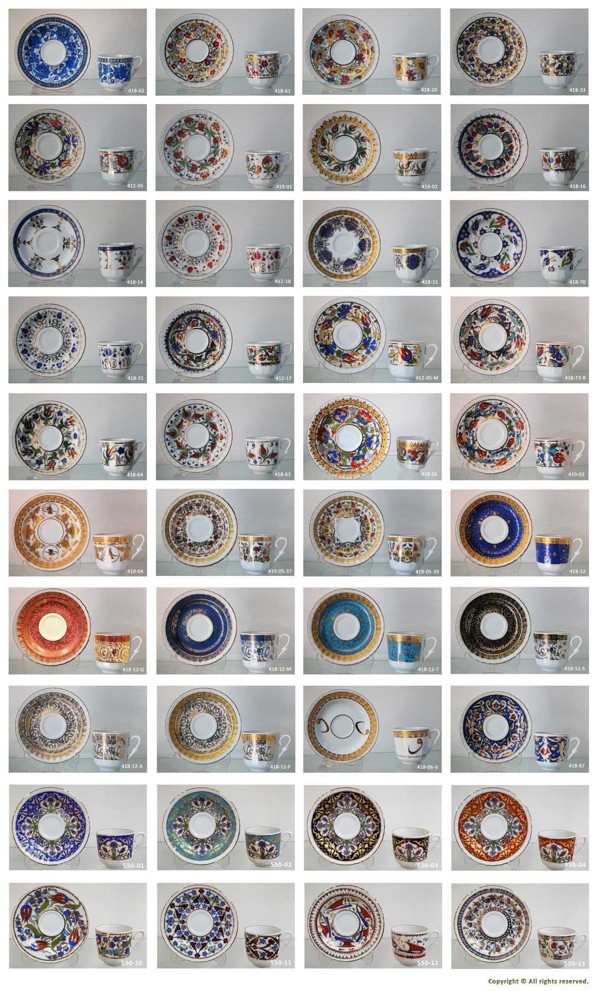 Türk Kahvesi Fincan Takımı Desenleri Türkiye anısı hatıralar Kahve Fincan Modelleri Orjinal KÜtahya Güral Porselen Altın Yaldızlı Sedef 1. Sınıf Sert Porselenden