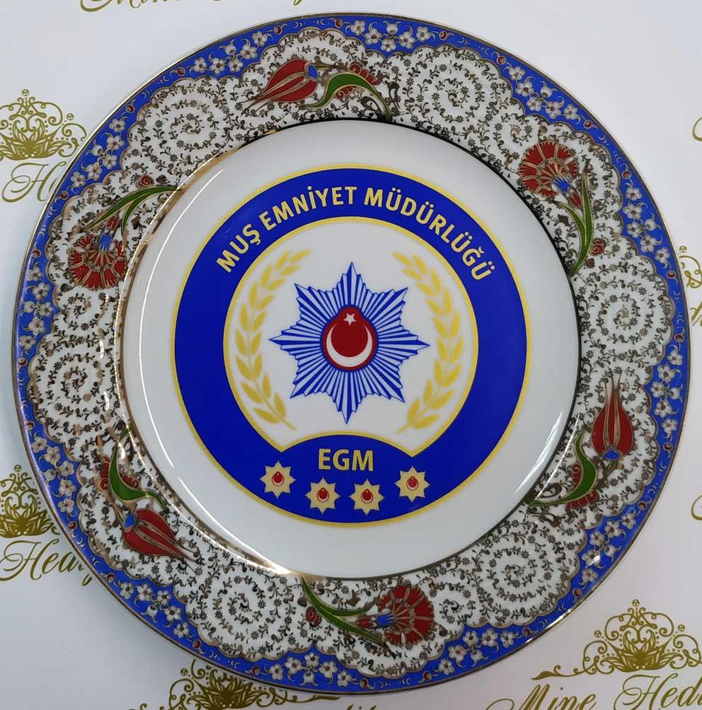 Bürokratik Hediyeler Muş Emniyet Müdürlüğü Logosu Kadife kutulu brokrat hediyesi