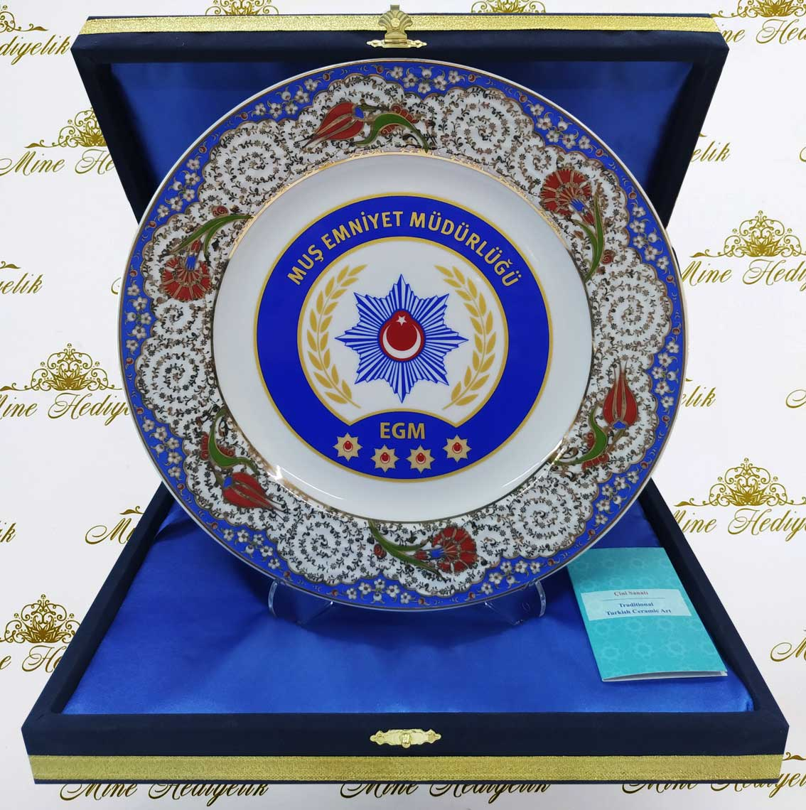 25cm Klasik Haliç Desenli Kadife Kutulu Hediyelik Porselen Tabaklar