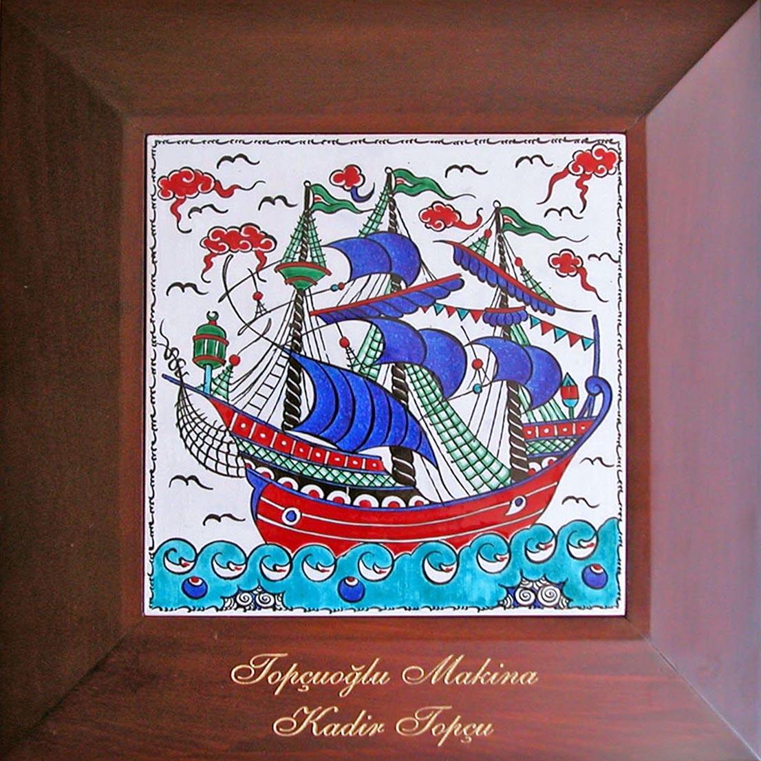 Osmanlı Kalyonlu Gemili Hediyelik Çerçeveli Kutulu  Çini Panolar Osmanlı Tabloları