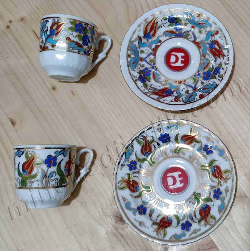 Promosyon Kahve Takımları Logolu günlük kalıcı kullanılabilir baskılı ikili kahve fincan setleri  çini desenli