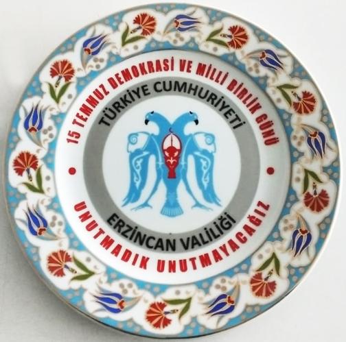25cm Porselen Plaket Tabaklar Erzincan Valiliği 15 Temmuz Şehitleri Anısına