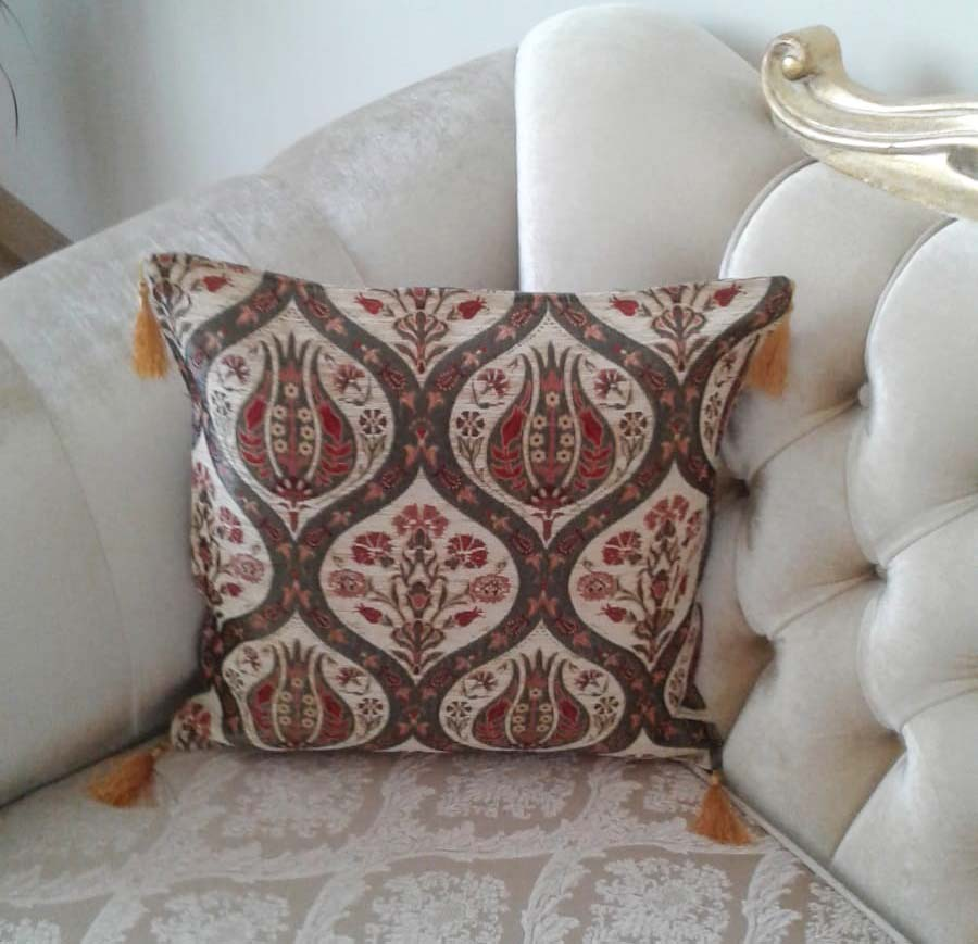 Ottoman Floral Tulip Decorative Thpow Turkish Pillow