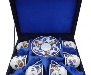 Kurumsal Promosyonluk  Altılı Kahve Takımları  6lı Kahve Takımları, Promosyon Amaçlı Firma Logo Baskılı Kadife Kutulu Fincan Setleri  Hediyelik Çini Desenli